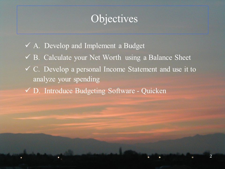 1 Personal Finance Another Perspective Budgeting and Measuring Your
