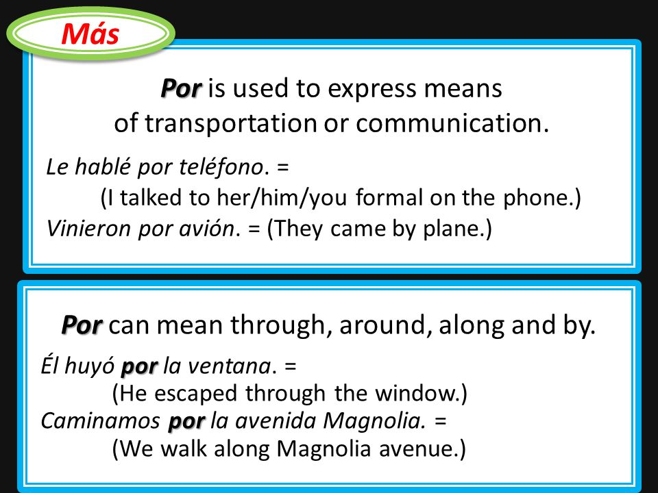 por The preposition por is used to express duration or a period of time (during, in, for).