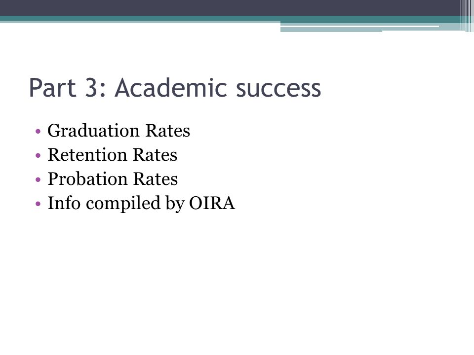 Part 3: Academic success Graduation Rates Retention Rates Probation Rates Info compiled by OIRA
