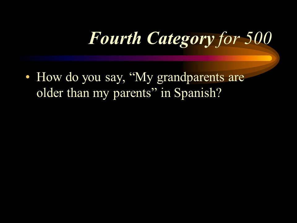 Answer to Fourth Category for 400 Susana es tan bonita como su madre. Pick a Category