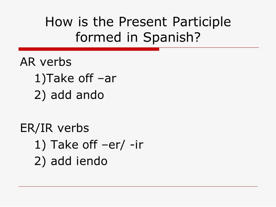 How is the Present Participle formed in Spanish.