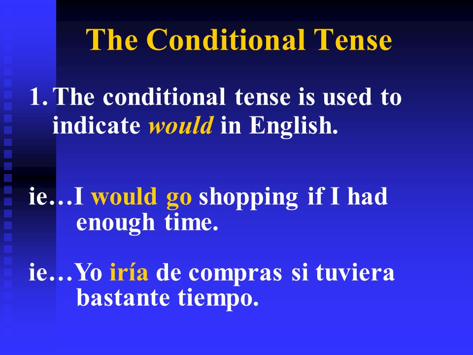 The Conditional Tense 1.The conditional tense is used to indicate would in English.