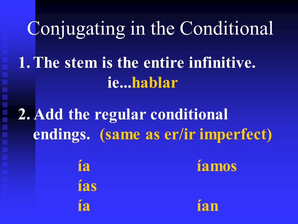 Conjugating in the Conditional 1.The stem is the entire infinitive.