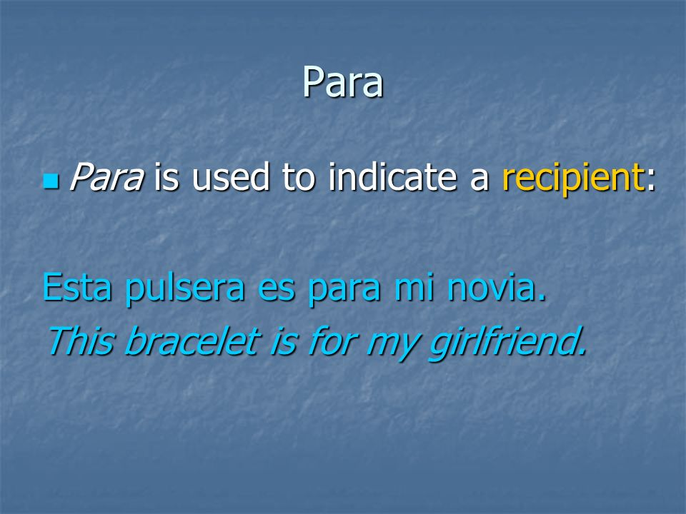 Para Para is used to indicate destination: Para is used to indicate destination: Marta sale para Nueva York hoy.