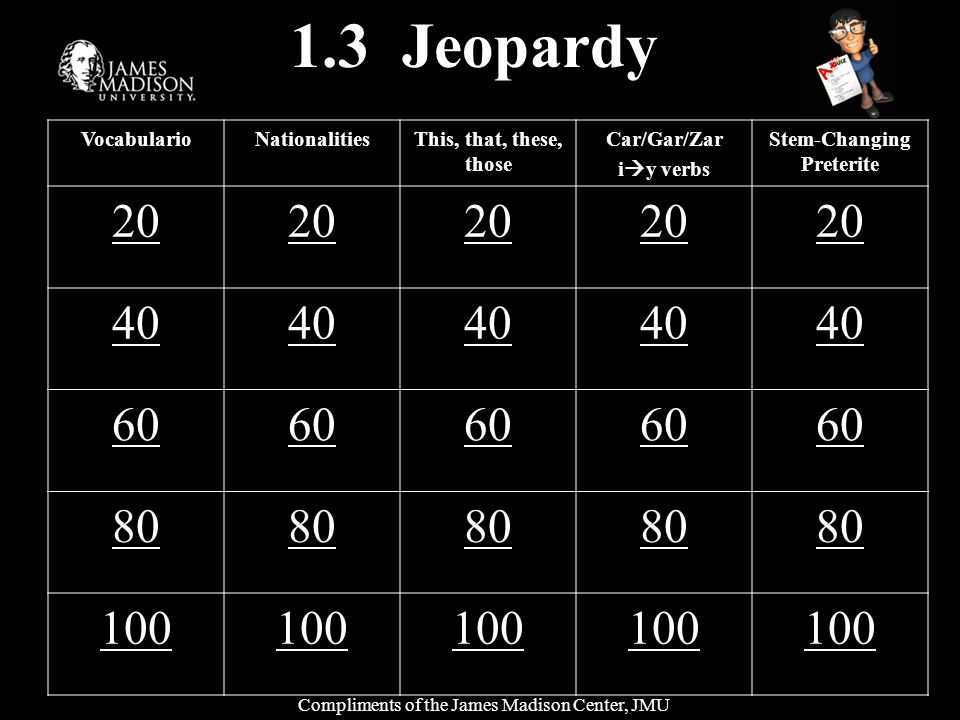 1.3 Jeopardy VocabularioNationalitiesThis, that, these, those Car/Gar/Zar i y verbs Stem-Changing Preterite 20 40 60 80 100 Compliments of the James Madison Center, JMU