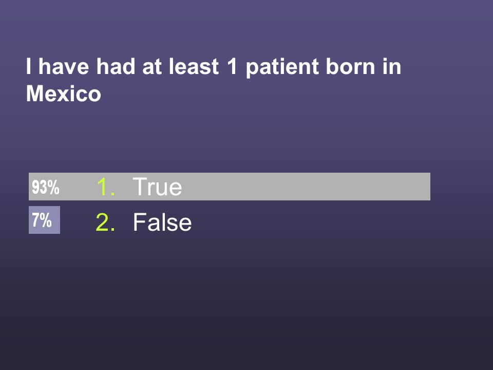 I have had at least 1 patient born in Mexico 1.True 2.False