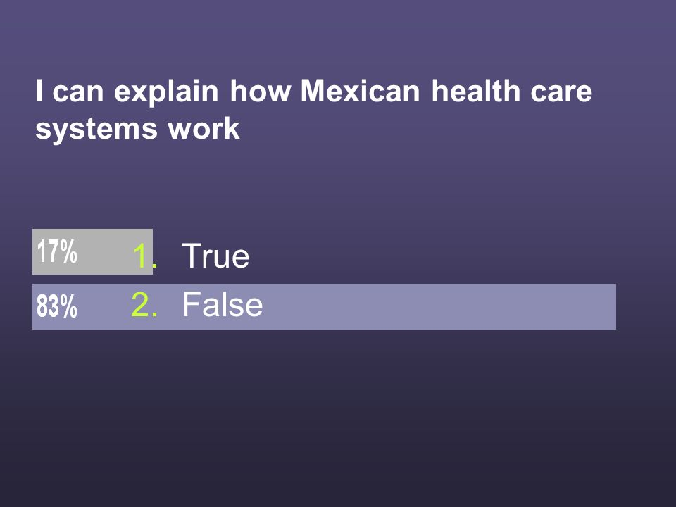 I can explain how Mexican health care systems work 1.True 2.False