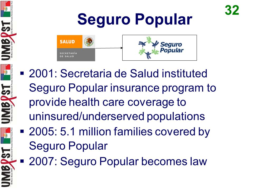 Seguro Popular 2001: Secretaria de Salud instituted Seguro Popular insurance program to provide health care coverage to uninsured/underserved populations 2005: 5.1 million families covered by Seguro Popular 2007: Seguro Popular becomes law 32