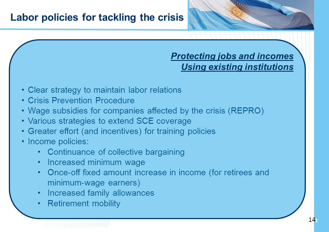 Ampliación del Sistema de Protección Social en Argentina - Período 2003-2010 14 Protecting jobs and incomes Using existing institutions Clear strategy to maintain labor relations Crisis Prevention Procedure Wage subsidies for companies affected by the crisis (REPRO) Various strategies to extend SCE coverage Greater effort (and incentives) for training policies Income policies: Continuance of collective bargaining Increased minimum wage Once-off fixed amount increase in income (for retirees and minimum-wage earners) Increased family allowances Retirement mobility Labor policies for tackling the crisis