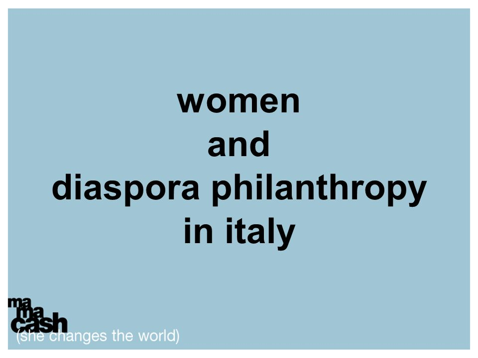women and diaspora philanthropy in italy