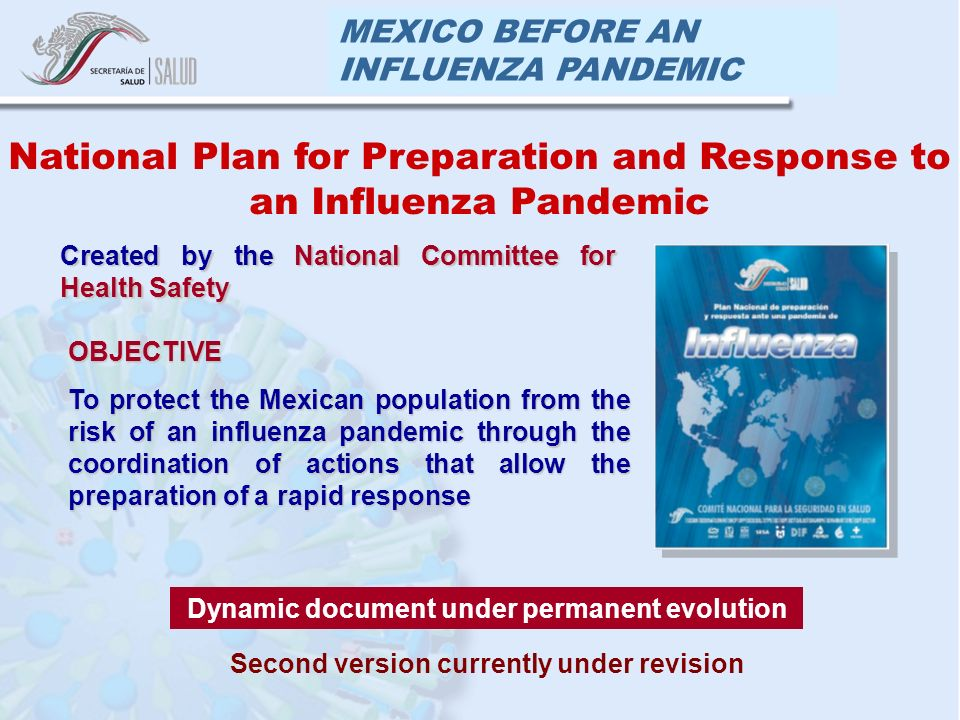 MEXICO BEFORE AN INFLUENZA PANDEMIC OBJECTIVE To protect the Mexican population from the risk of an influenza pandemic through the coordination of actions that allow the preparation of a rapid response National Plan for Preparation and Response to an Influenza Pandemic Dynamic document under permanent evolution Created by the National Committee for Health Safety Second version currently under revision