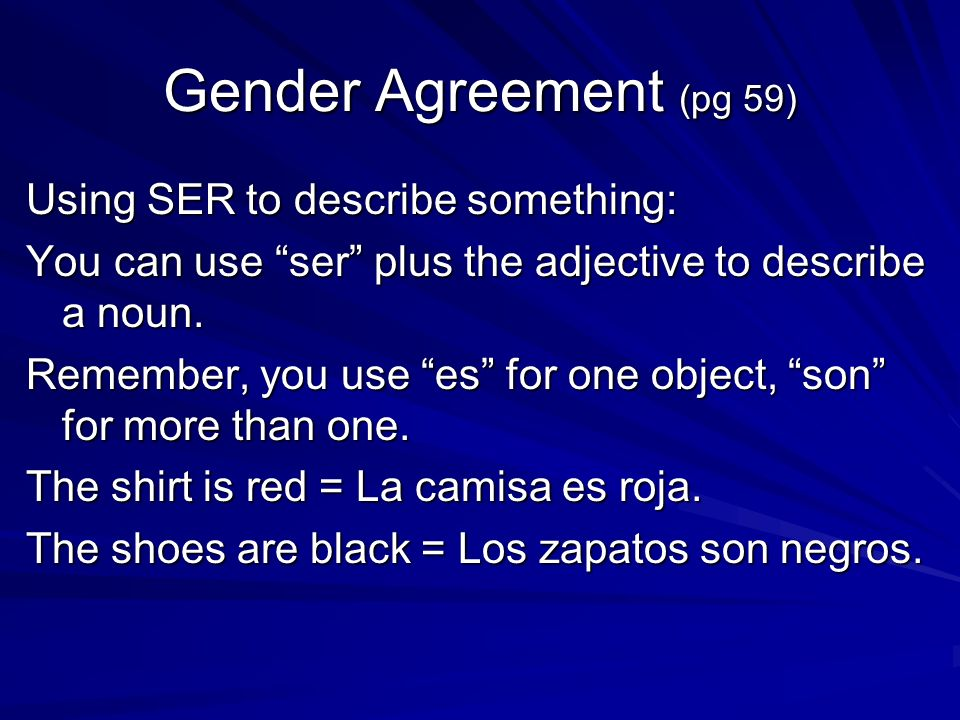 Gender Agreement (pg 59) Using SER to describe something: You can use ser plus the adjective to describe a noun.