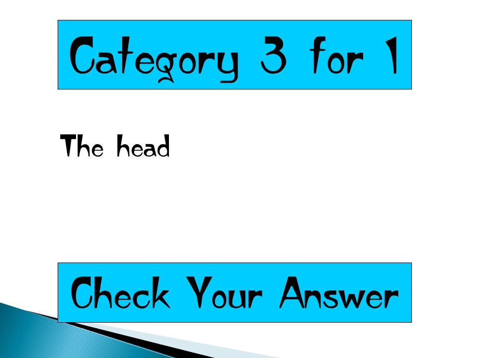 Category 3 for 1 The head Check Your Answer