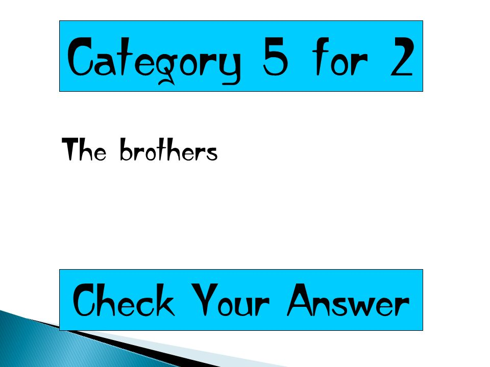 Category 5 for 2 The brothers Check Your Answer