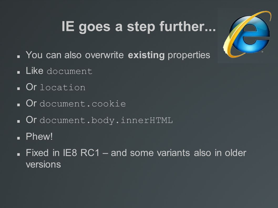 IE goes a step further...