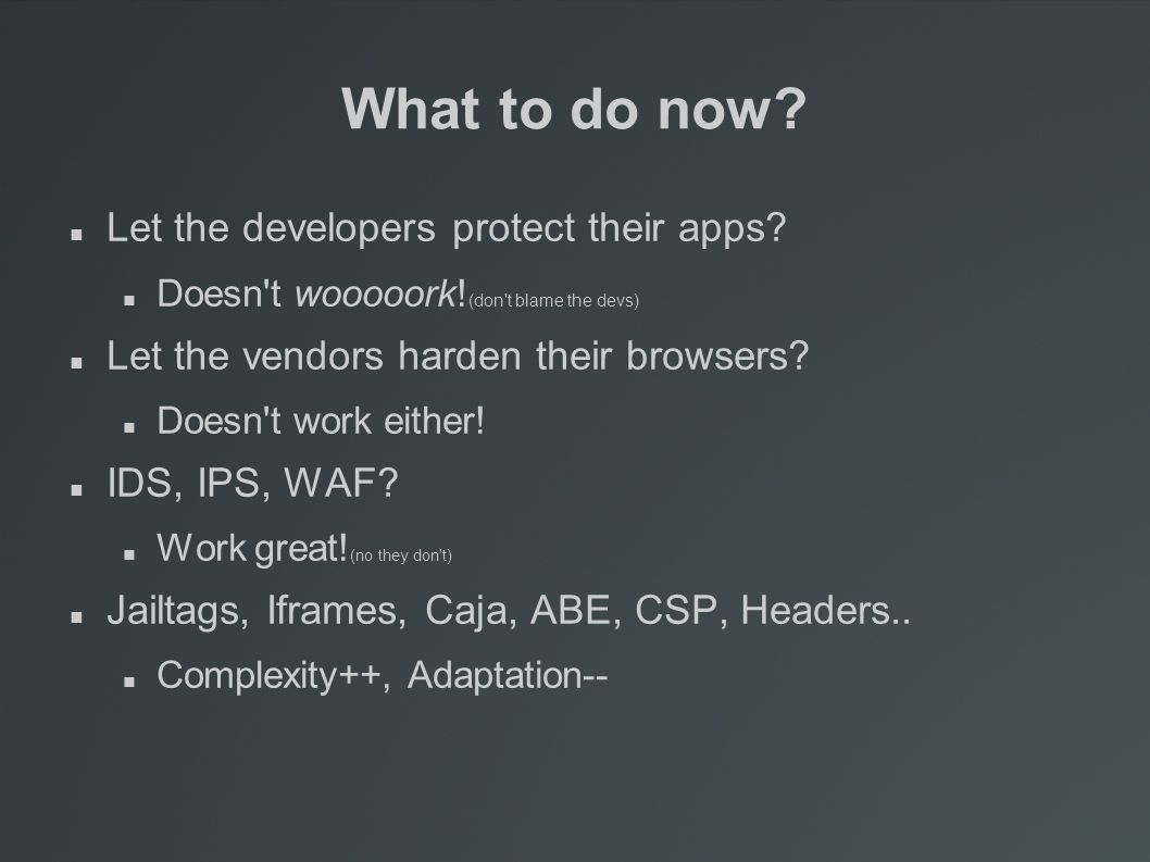 What to do now. Let the developers protect their apps.
