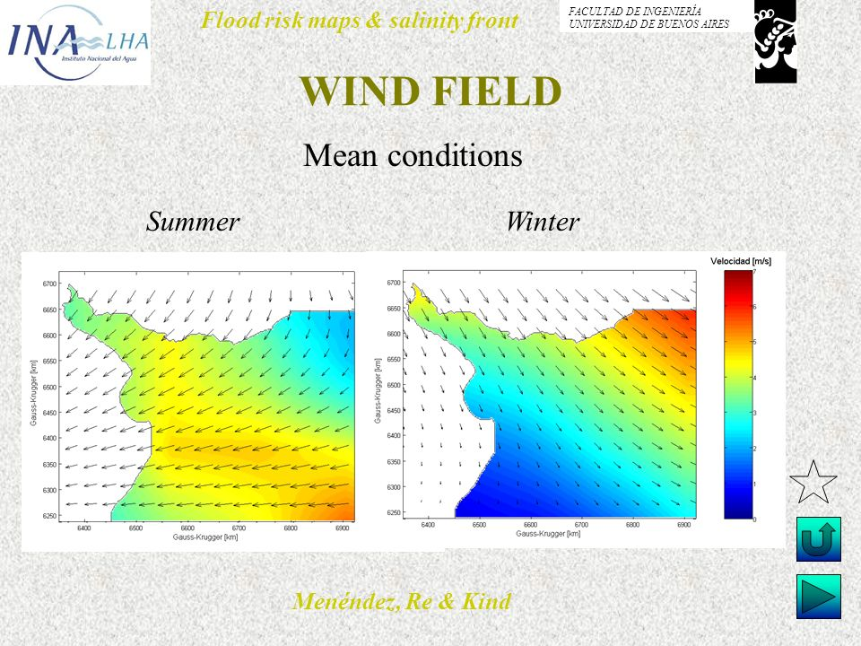 Menéndez, Re & Kind Flood risk maps & salinity front FACULTAD DE INGENIERÍA UNIVERSIDAD DE BUENOS AIRES WIND FIELD Mean conditions Summer Winter