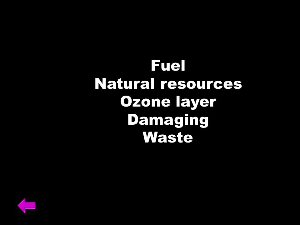 Fuel Natural resources Ozone layer Damaging Waste