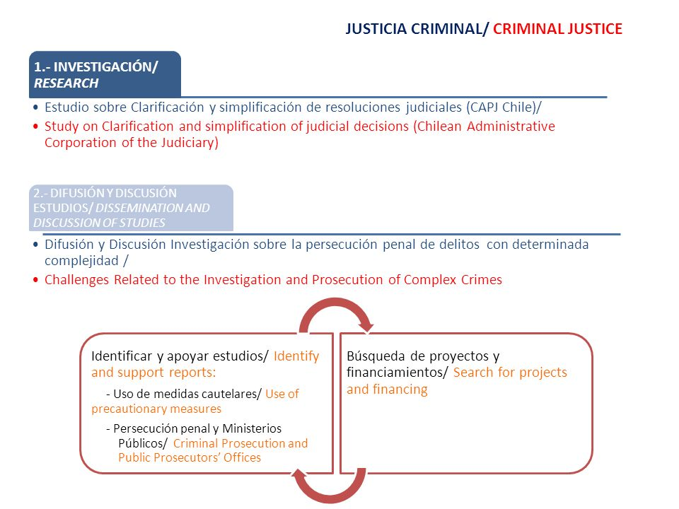 JUSTICIA CRIMINAL/ CRIMINAL JUSTICE 1.- INVESTIGACIÓN/ RESEARCH Estudio sobre Clarificación y simplificación de resoluciones judiciales (CAPJ Chile)/ Study on Clarification and simplification of judicial decisions (Chilean Administrative Corporation of the Judiciary) 2.- DIFUSIÓN Y DISCUSIÓN ESTUDIOS/ DISSEMINATION AND DISCUSSION OF STUDIES Difusión y Discusión Investigación sobre la persecución penal de delitos con determinada complejidad / Challenges Related to the Investigation and Prosecution of Complex Crimes Identificar y apoyar estudios/ Identify and support reports: - Uso de medidas cautelares/ Use of precautionary measures - Persecución penal y Ministerios Públicos/ Criminal Prosecution and Public Prosecutors Offices Búsqueda de proyectos y financiamientos/ Search for projects and financing