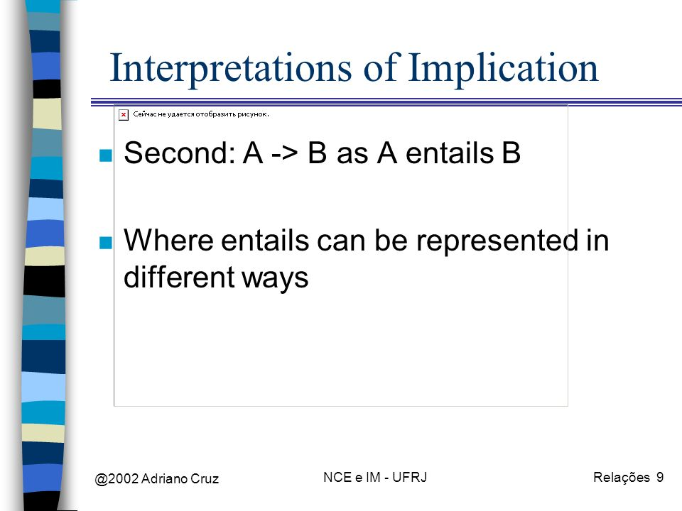 @2002 Adriano Cruz NCE e IM - UFRJRelações 9 Interpretations of Implication n Second: A -> B as A entails B n Where entails can be represented in different ways