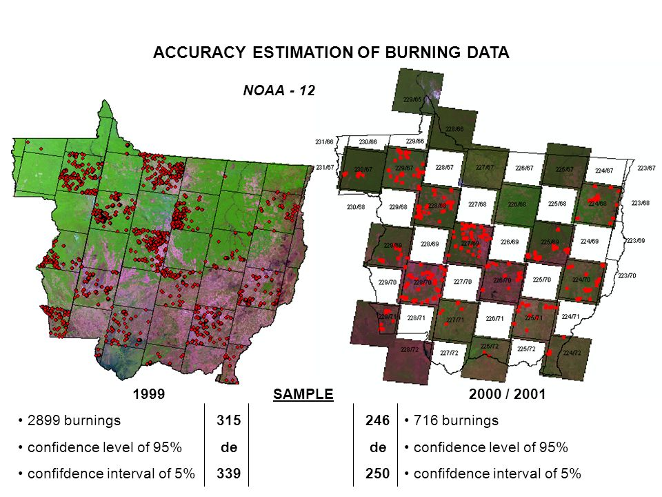 1999 2899 burnings confidence level of 95% confifdence interval of 5% 2000 / 2001 716 burnings confidence level of 95% confifdence interval of 5% SAMPLE 315 246 de de 339 250 NOAA - 12 ACCURACY ESTIMATION OF BURNING DATA
