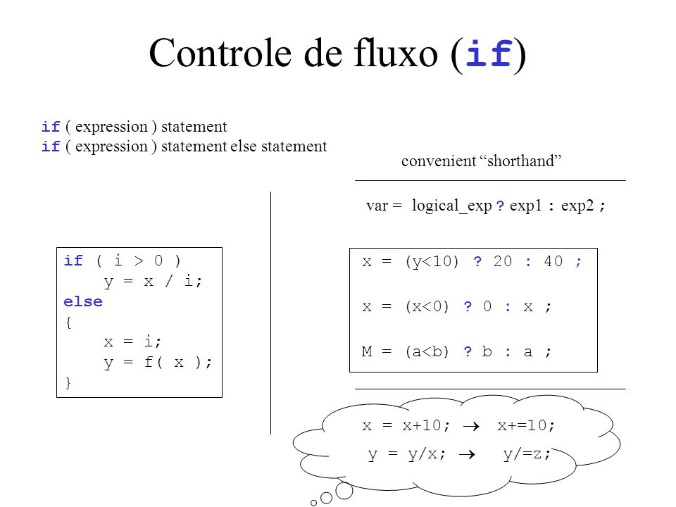 Controle de fluxo ( if ) if ( expression ) statement if ( expression ) statement else statement if ( i > 0 ) y = x / i; else { x = i; y = f( x ); } var = logical_exp .