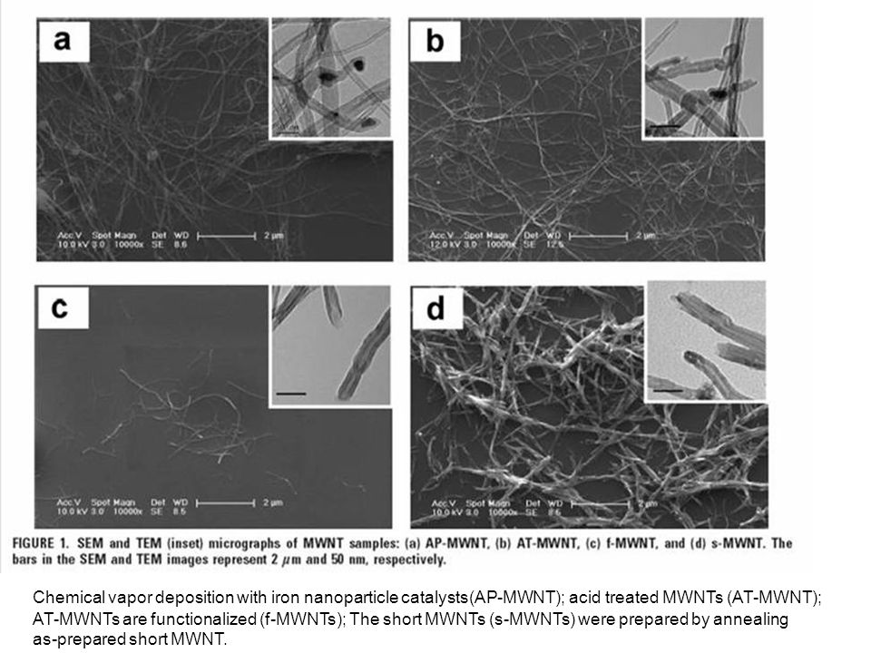 Chemical vapor deposition with iron nanoparticle catalysts(AP-MWNT); acid treated MWNTs (AT-MWNT); AT-MWNTs are functionalized (f-MWNTs); The short MWNTs (s-MWNTs) were prepared by annealing as-prepared short MWNT.