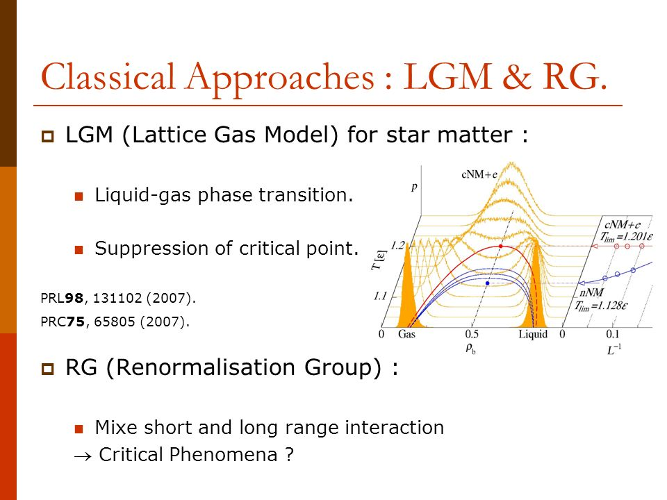 Classical Approaches : LGM & RG.