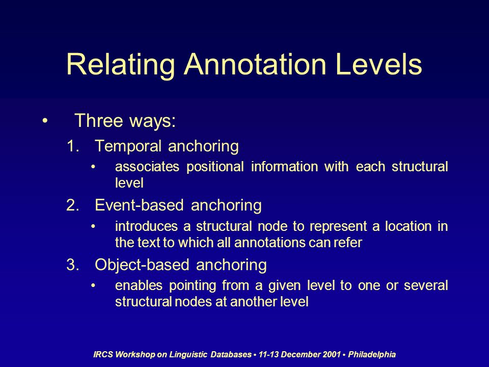 IRCS Workshop on Linguistic Databases 11-13 December 2001 Philadelphia Relating Annotation Levels Three ways: 1.