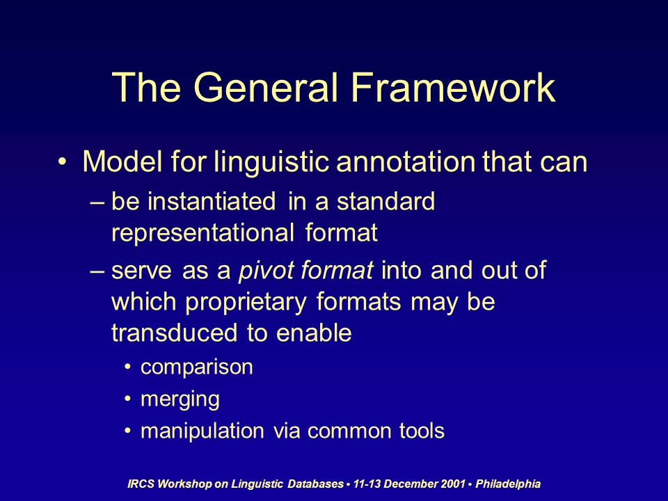 IRCS Workshop on Linguistic Databases 11-13 December 2001 Philadelphia The General Framework Model for linguistic annotation that can –be instantiated in a standard representational format –serve as a pivot format into and out of which proprietary formats may be transduced to enable comparison merging manipulation via common tools