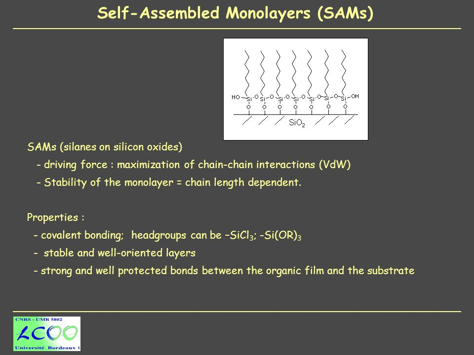 SAMs (silanes on silicon oxides) - driving force : maximization of chain-chain interactions (VdW) - Stability of the monolayer = chain length dependent.