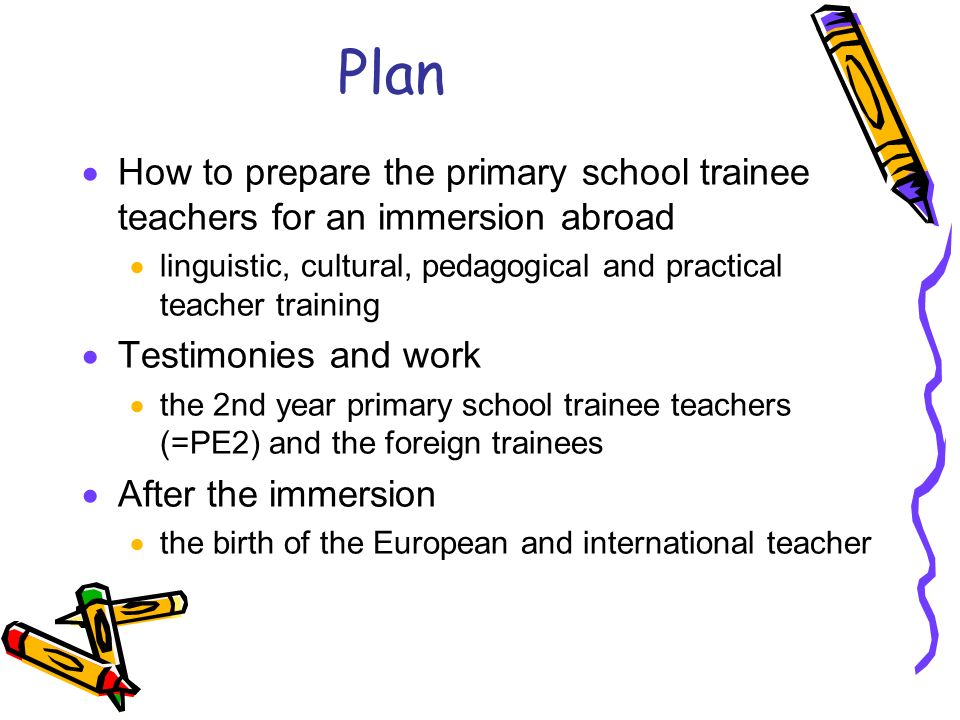 Plan How to prepare the primary school trainee teachers for an immersion abroad linguistic, cultural, pedagogical and practical teacher training Testimonies and work the 2nd year primary school trainee teachers (=PE2) and the foreign trainees After the immersion the birth of the European and international teacher