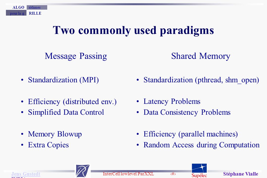 InterCell lowlevel ParXXL 9 Jens Gustedt Jens Gustedt INRIA RILLEpour la g rithmesALGO Stéphane Vialle Two commonly used paradigms Message Passing Standardization (MPI) Efficiency (distributed env.) Simplified Data Control Memory Blowup Extra Copies Shared Memory Standardization (pthread, shm_open) Latency Problems Data Consistency Problems Efficiency (parallel machines) Random Access during Computation