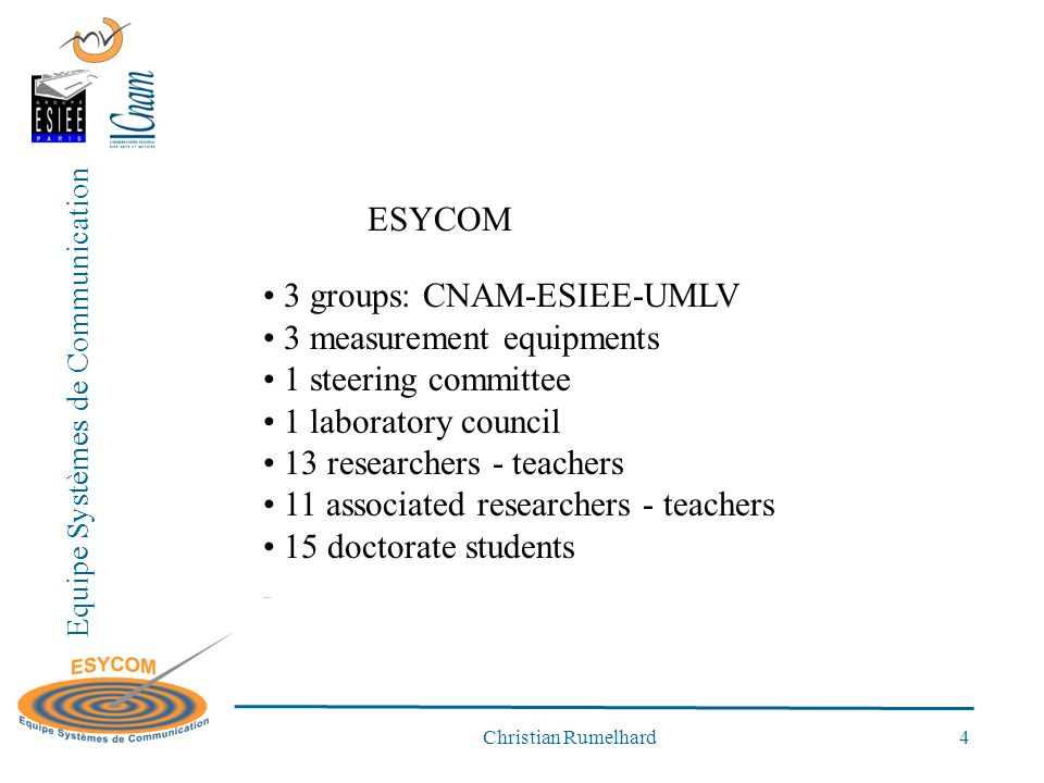 Equipe Systèmes de Communication Christian Rumelhard 4 ESYCOM 3 groups: CNAM-ESIEE-UMLV 3 measurement equipments 1 steering committee 1 laboratory council 13 researchers - teachers 11 associated researchers - teachers 15 doctorate students