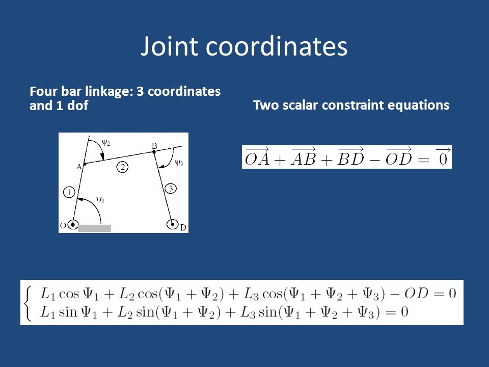 Joint coordinates Four bar linkage: 3 coordinates and 1 dof Two scalar constraint equations