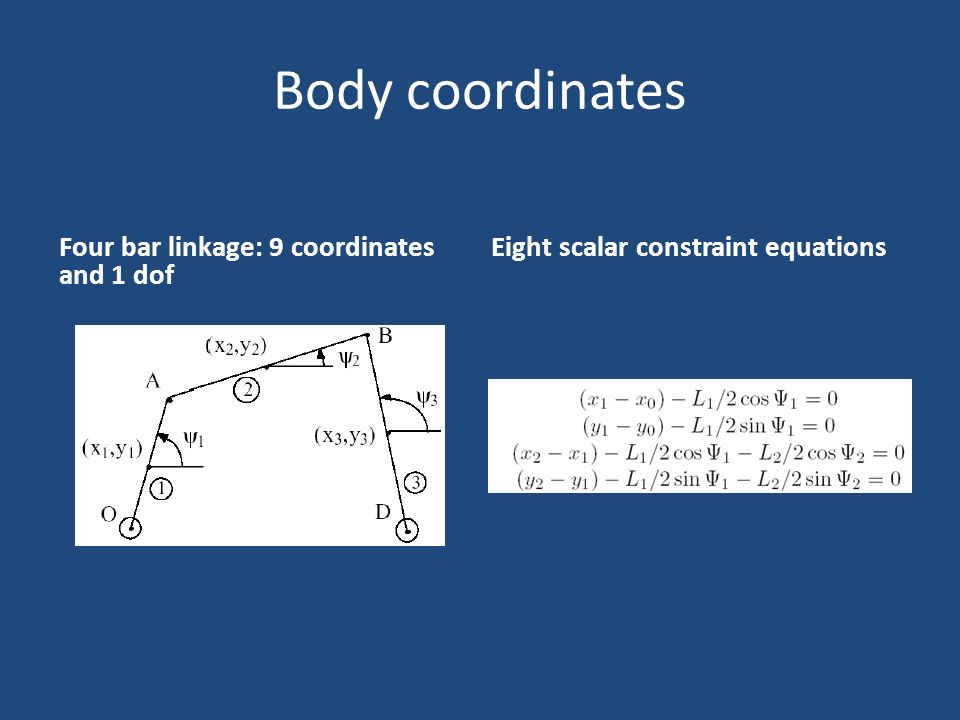 Body coordinates Four bar linkage: 9 coordinates and 1 dof Eight scalar constraint equations