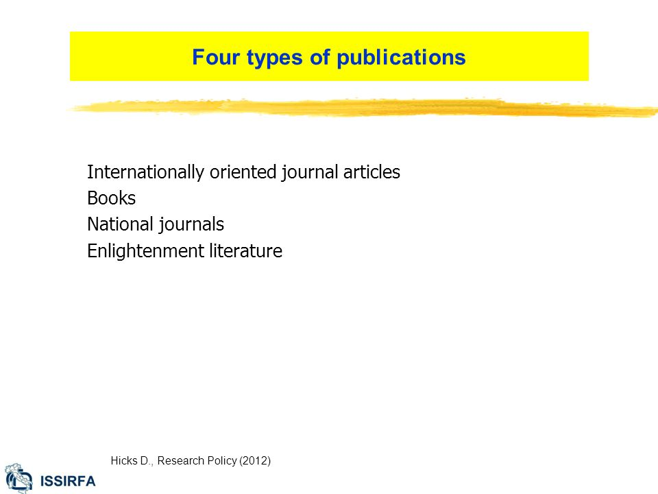 Internationally oriented journal articles Books National journals Enlightenment literature Hicks D., Research Policy (2012) Four types of publications
