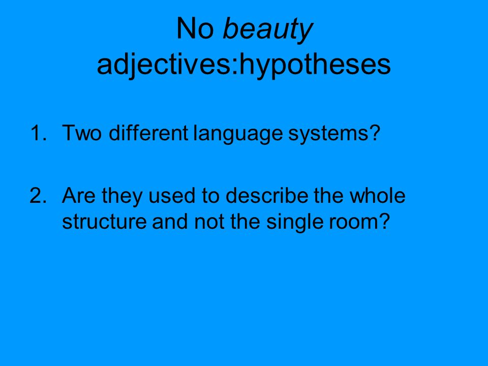No beauty adjectives:hypotheses 1.Two different language systems.