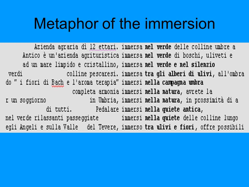 Metaphor of the immersion