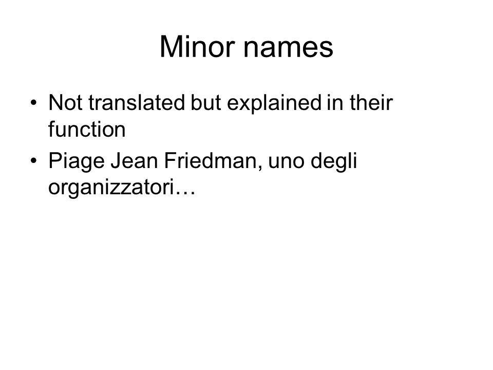 Minor names Not translated but explained in their function Piage Jean Friedman, uno degli organizzatori…