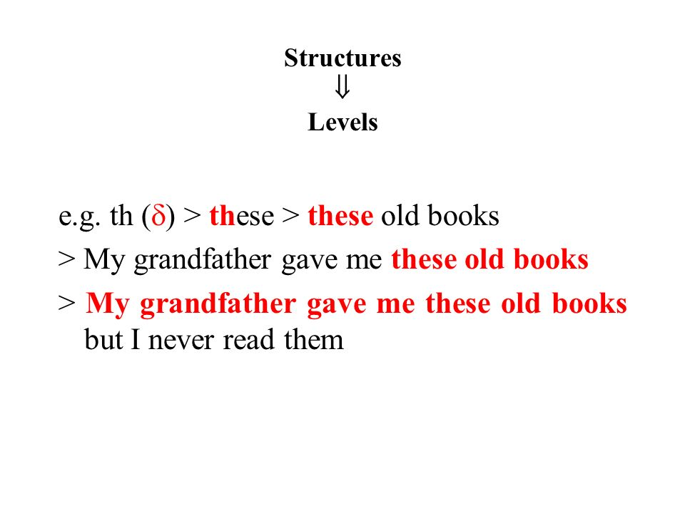 Structures Levels e.g.