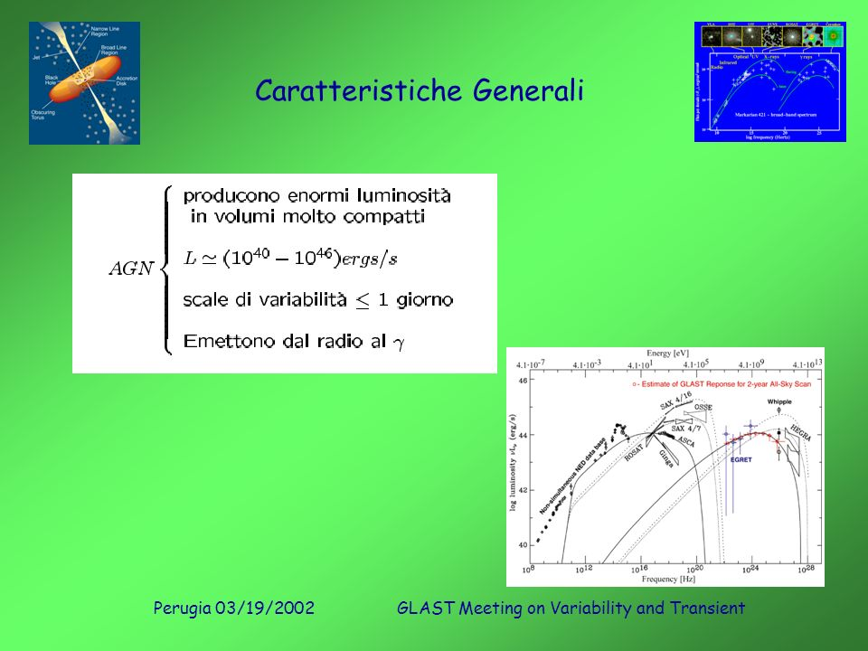 Perugia 03/19/2002GLAST Meeting on Variability and Transient Caratteristiche Generali