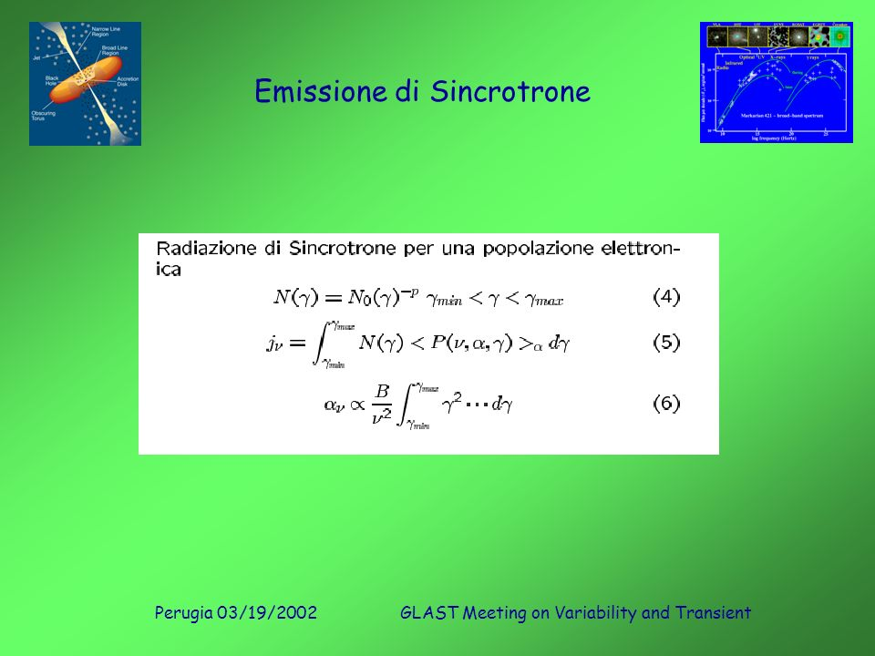 Perugia 03/19/2002GLAST Meeting on Variability and Transient Emissione di Sincrotrone