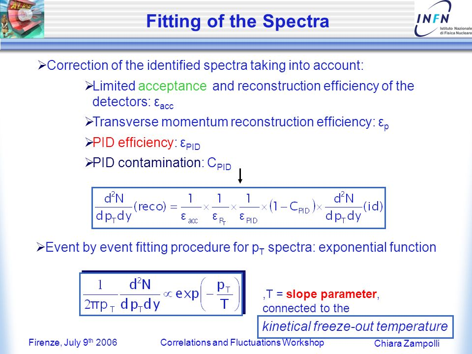 Firenze, July 9 th 2006Correlations and Fluctuations Workshop Chiara Zampolli Fitting of the Spectra Event by event fitting procedure for p T spectra: exponential function,T = slope parameter, connected to the Correction of the identified spectra taking into account: Limited acceptance and reconstruction efficiency of the detectors: ε acc Transverse momentum reconstruction efficiency: ε p PID efficiency: ε PID PID contamination: C PID kinetical freeze-out temperature