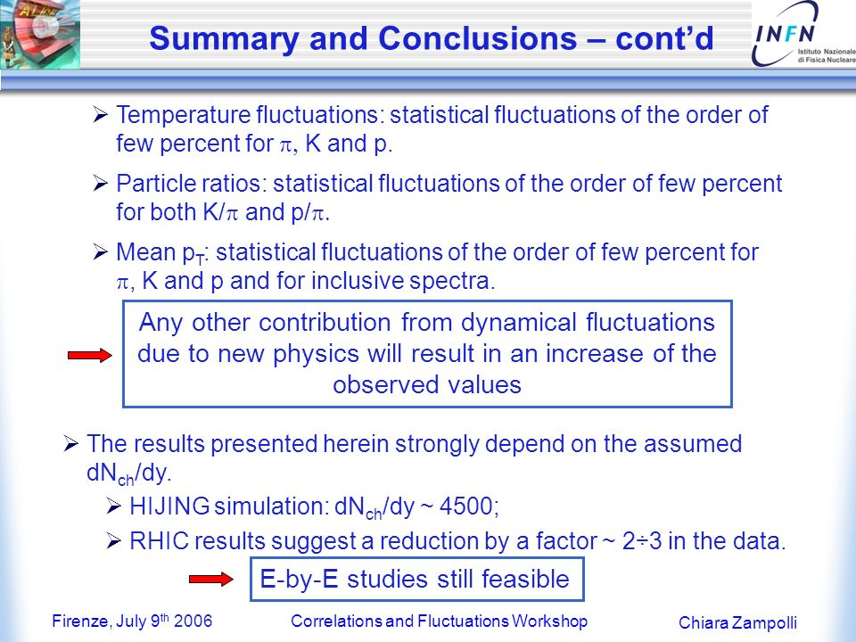 Firenze, July 9 th 2006Correlations and Fluctuations Workshop Chiara Zampolli Summary and Conclusions – contd Temperature fluctuations: statistical fluctuations of the order of few percent for K and p.