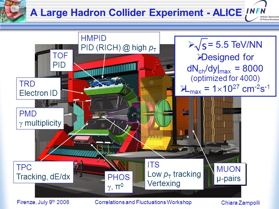 Firenze, July 9 th 2006Correlations and Fluctuations Workshop Chiara Zampolli A Large Hadron Collider Experiment - ALICE ITS Low p T tracking Vertexing TPC Tracking, dE/dx TRD Electron ID TOF PID HMPID PID (RICH) @ high p T PHOS γ, π 0 PMD γ multiplicity MUON μ-pairs MUON μ-pairs = 5.5 TeV/NN Designed for dN ch /dy| max = 8000 (optimized for 4000) L max = 1 10 27 cm -2 s -1