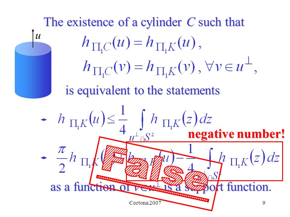 9 The existence of a cylinder Csuch that uis equivalent to the statements as a function of v u v u is a support function.