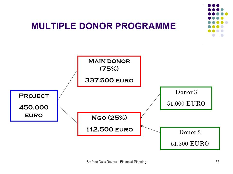 Stefano Della Rovere - Financial Planning37 MULTIPLE DONOR PROGRAMME Project 450.000 euro Ngo (25%) 112.500 euro Donor 2 61.500 EURO Donor 3 51.000 EURO Main donor (75%) 337.500 euro