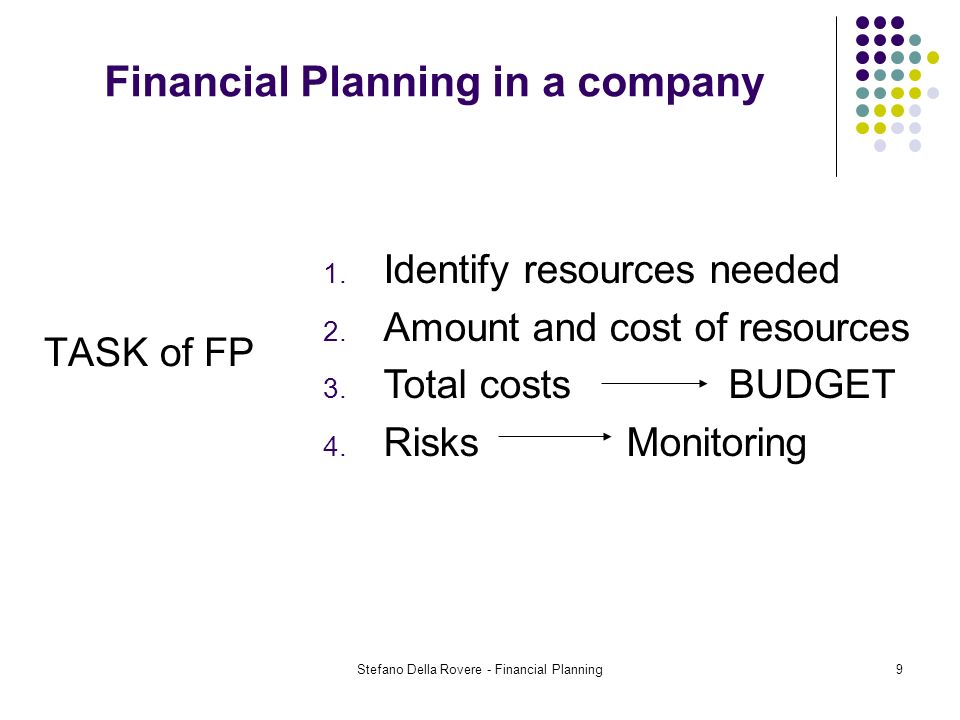 Stefano Della Rovere - Financial Planning9 Financial Planning in a company TASK of FP 1.