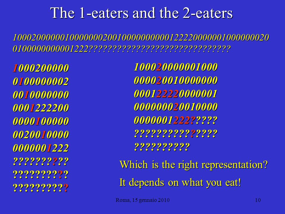 Roma, 15 gennaio 201010 The 1-eaters and the 2-eaters 1000200000 0100000002 0010000000 0001222200 0000100000 0020010000 0000001222 .